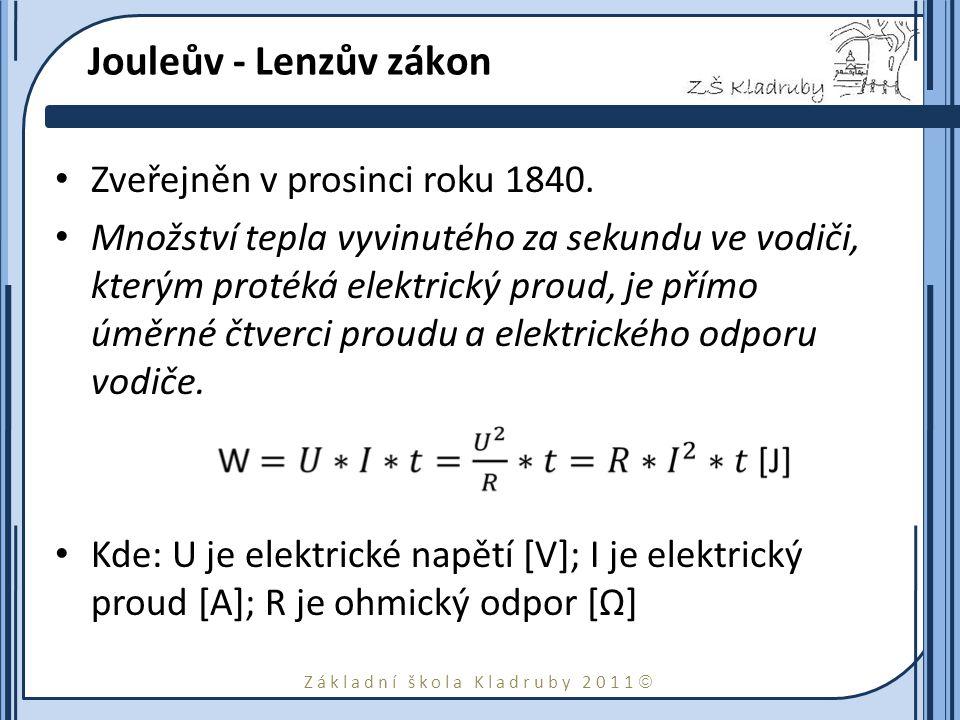 Jouleův - Lenzův zákon Zveřejněn v prosinci roku 1840.