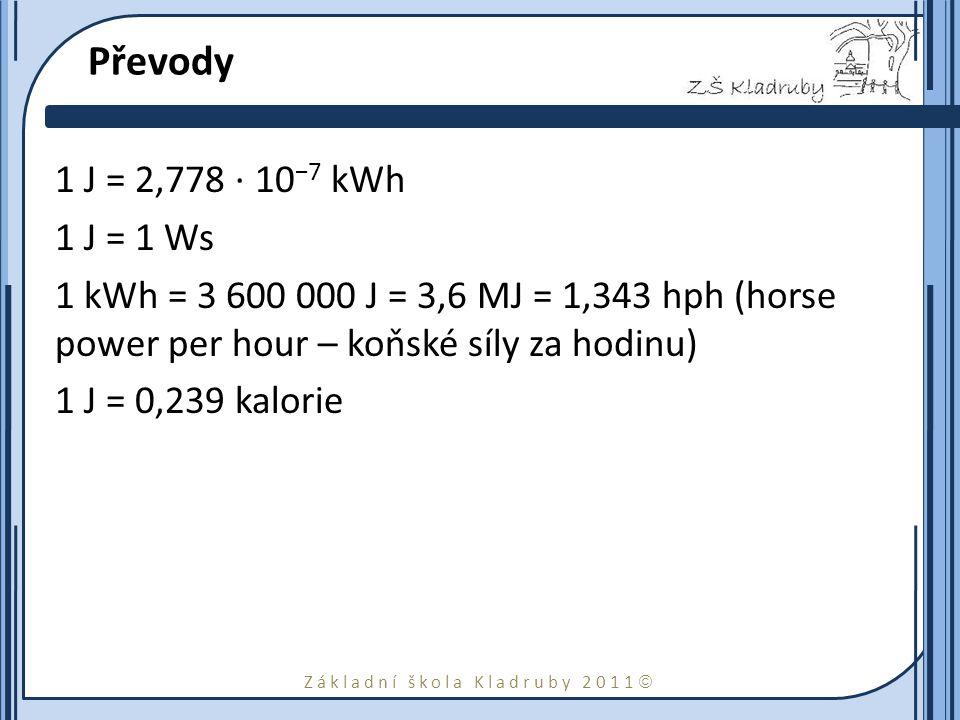 Převody 1 J = 2,778 · 10−7 kWh. 1 J = 1 Ws. 1 kWh = 3 600 000 J = 3,6 MJ = 1,343 hph (horse power per hour – koňské síly za hodinu)