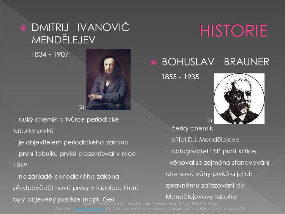 HISTORIE DMITRIJ IVANOVIČ MENDĚLEJEV BOHUSLAV BRAUNER 1834 - 1907