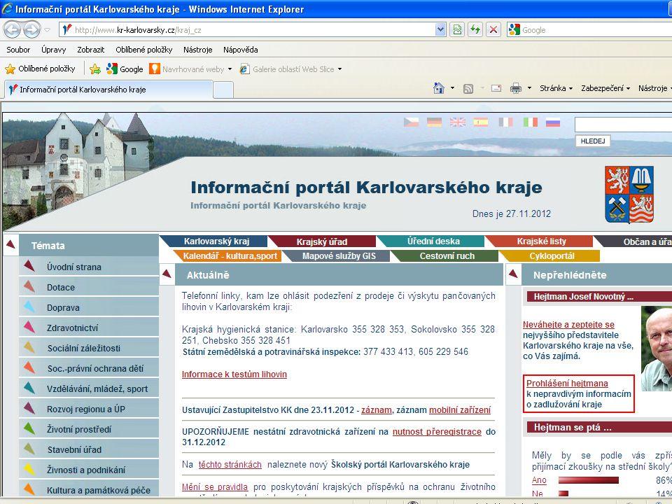 Webové stránky Karlovarského kraje www.kr-karlovarsky.cz
