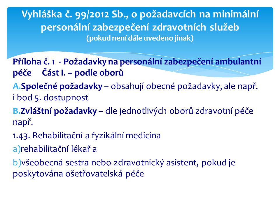 Vyhláška č. 99/2012 Sb., o požadavcích na minimální personální zabezpečení zdravotních služeb (pokud není dále uvedeno jinak)