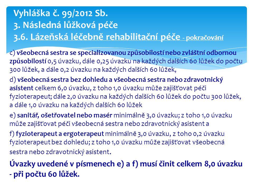 Vyhláška č. 99/2012 Sb. 3. Následná lůžková péče 3. 6