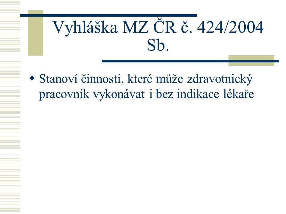 Vyhláška MZ ČR č. 424/2004 Sb.