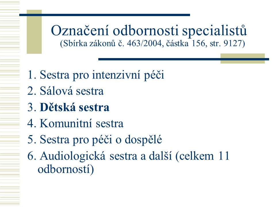 Označení odbornosti specialistů (Sbírka zákonů č