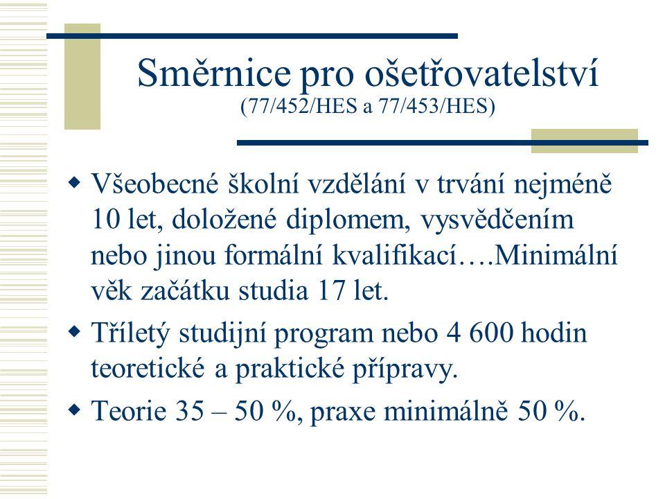 Směrnice pro ošetřovatelství (77/452/HES a 77/453/HES)