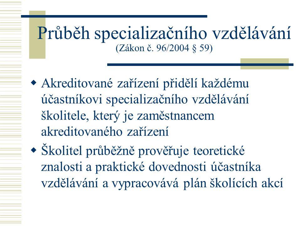 Průběh specializačního vzdělávání (Zákon č. 96/2004 § 59)