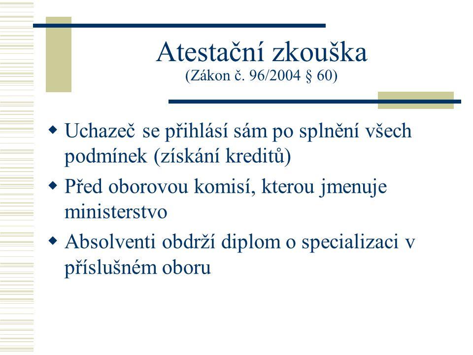 Atestační zkouška (Zákon č. 96/2004 § 60)
