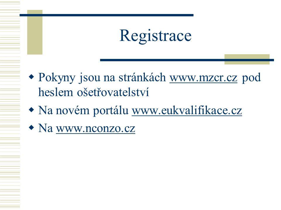Registrace Pokyny jsou na stránkách www.mzcr.cz pod heslem ošetřovatelství. Na novém portálu www.eukvalifikace.cz.