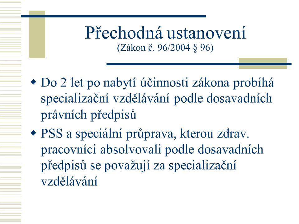 Přechodná ustanovení (Zákon č. 96/2004 § 96)