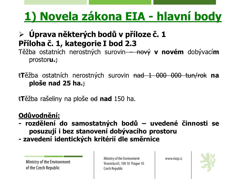 1) Novela zákona EIA - hlavní body