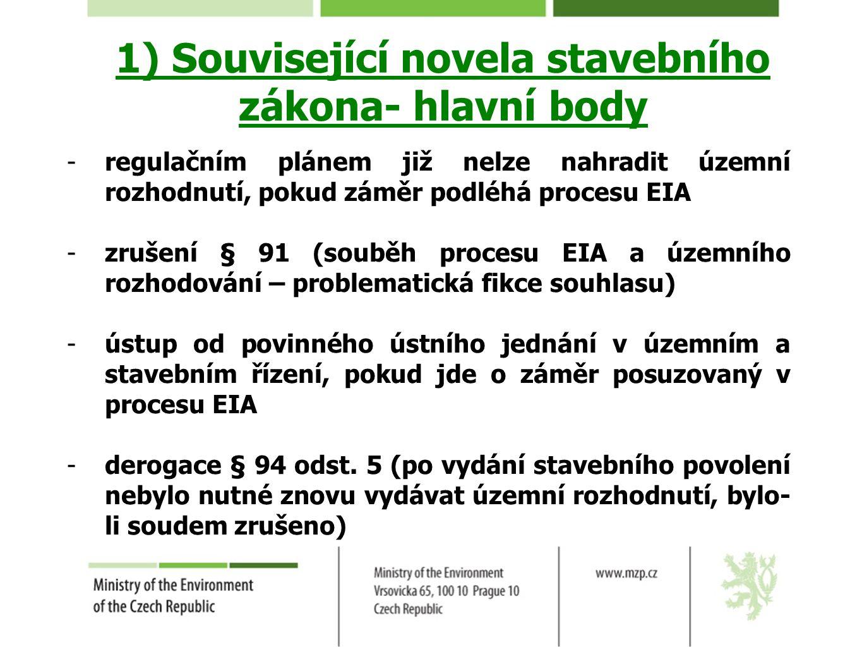 1) Související novela stavebního zákona- hlavní body
