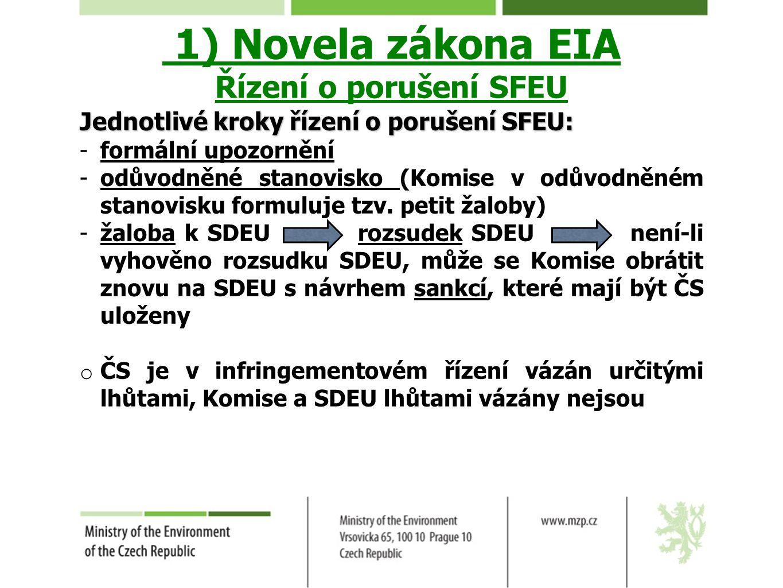 1) Novela zákona EIA Řízení o porušení SFEU