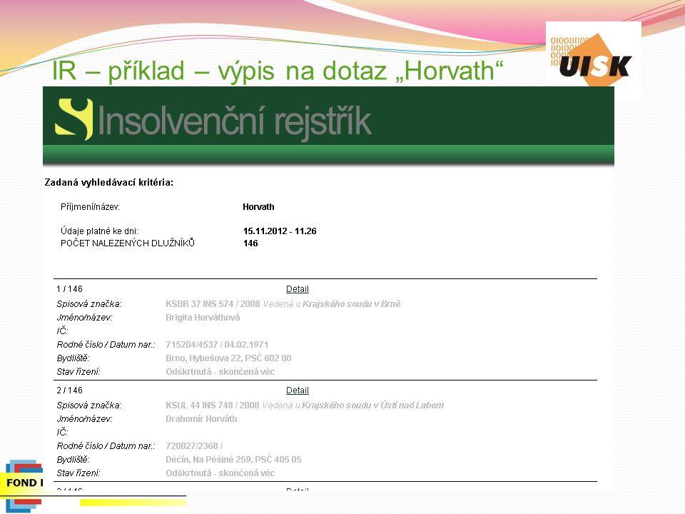"""IR – příklad – výpis na dotaz """"Horvath"""