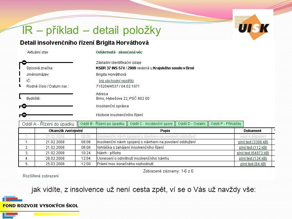 IR – příklad – detail položky