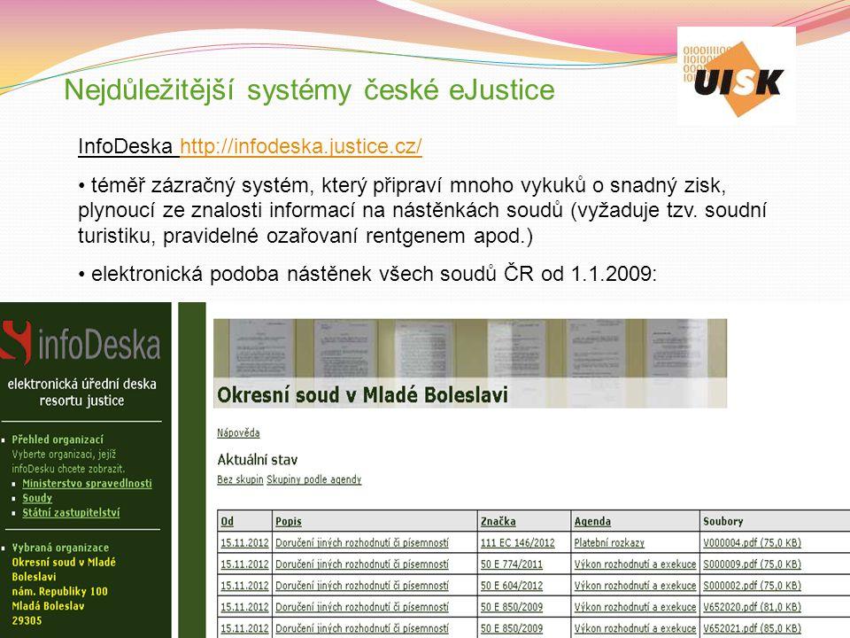 Nejdůležitější systémy české eJustice