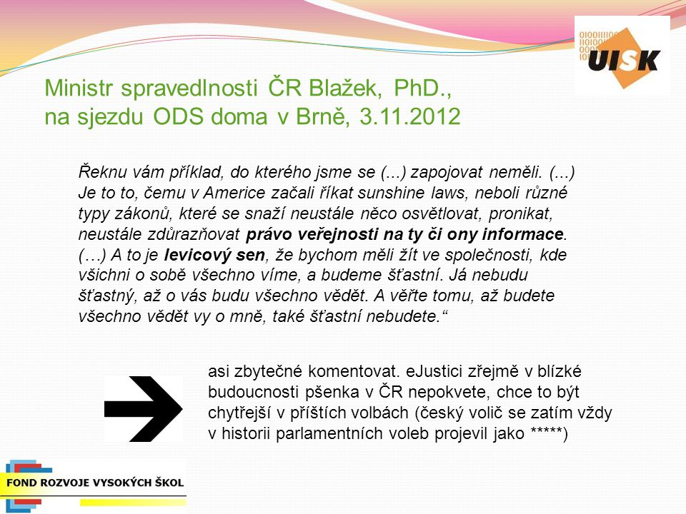 Ministr spravedlnosti ČR Blažek, PhD. , na sjezdu ODS doma v Brně, 3