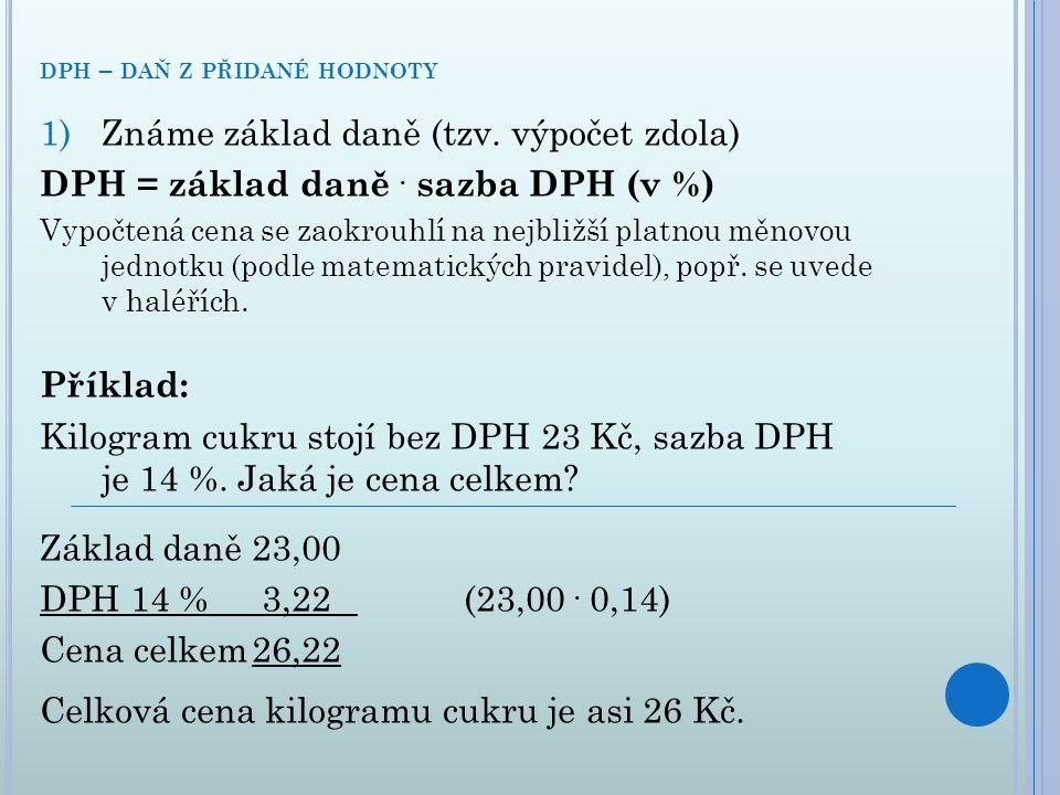 dph – daň z přidané hodnoty