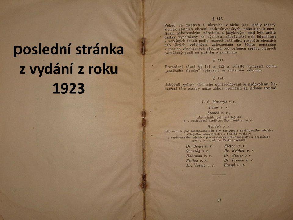 poslední stránka z vydání z roku 1923