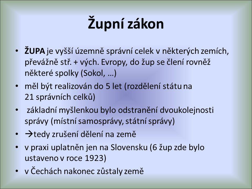 Župní zákon ŽUPA je vyšší územně správní celek v některých zemích, převážně stř. + vých. Evropy, do žup se člení rovněž některé spolky (Sokol, …)