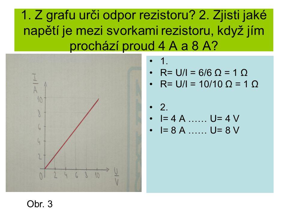 1. Z grafu urči odpor rezistoru. 2