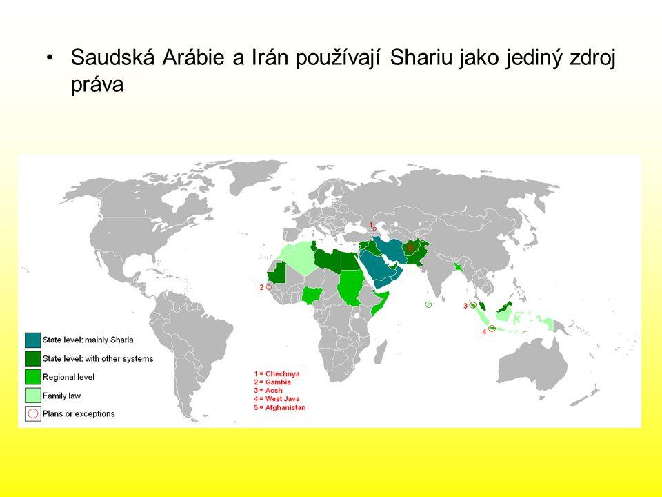 Saudská Arábie a Irán používají Shariu jako jediný zdroj práva