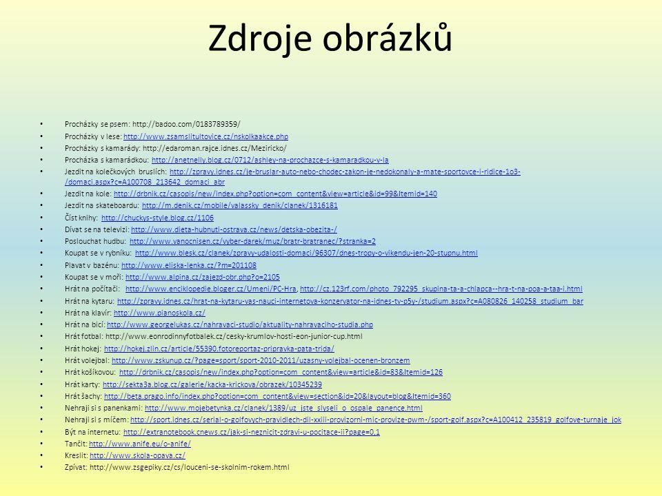 Zdroje obrázků Procházky se psem: http://badoo.com/0183789359/