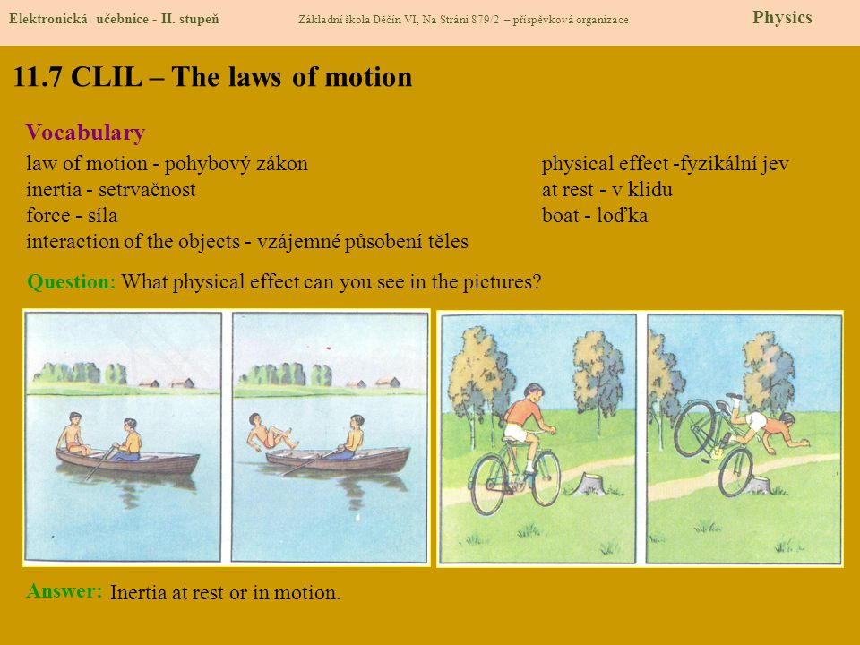 11.7 CLIL – The laws of motion