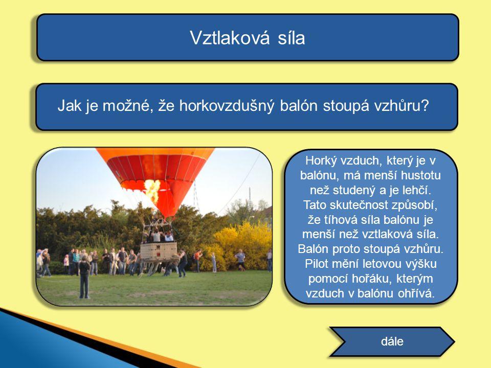 Vztlaková síla Jak je možné, že horkovzdušný balón stoupá vzhůru