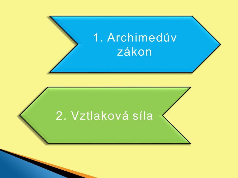 1. Archimedův zákon 2. Vztlaková síla