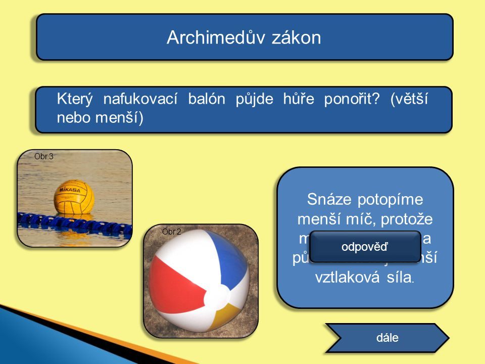 Archimedův zákon Který nafukovací balón půjde hůře ponořit (větší nebo menší) Obr.3.