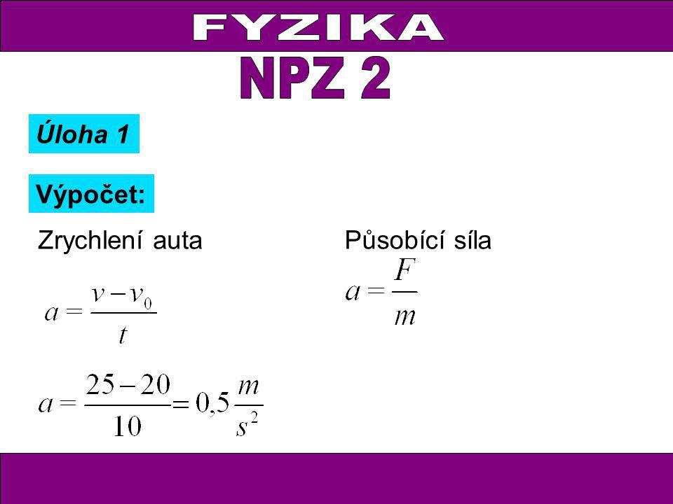 FYZIKA NPZ 2 Úloha 1 Výpočet: Zrychlení auta Působící síla