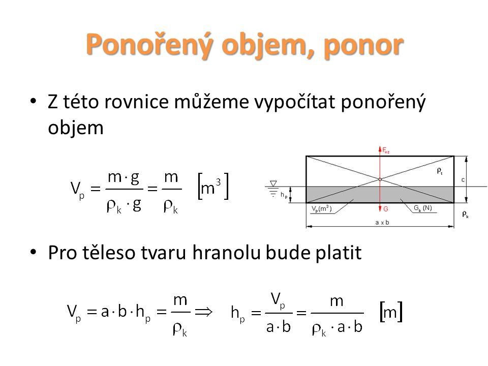 Ponořený objem, ponor Z této rovnice můžeme vypočítat ponořený objem
