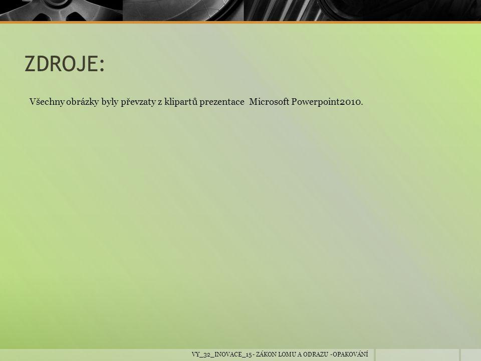 ZDROJE: Všechny obrázky byly převzaty z klipartů prezentace Microsoft Powerpoint2010.