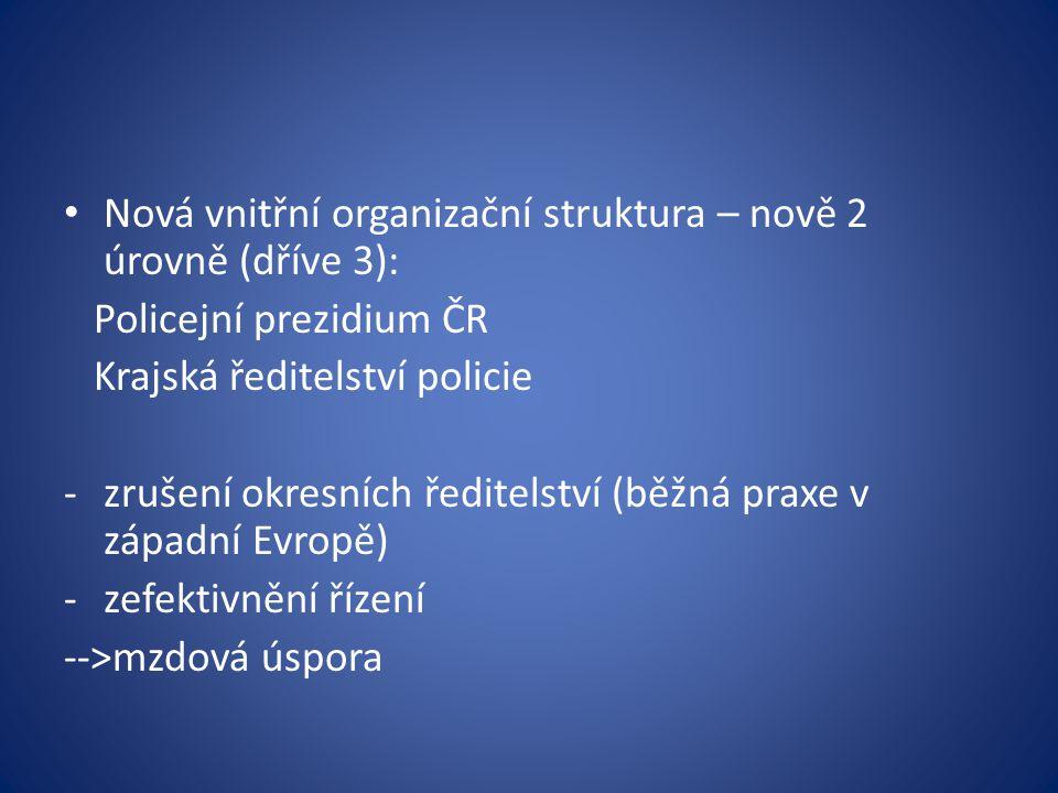 Nová vnitřní organizační struktura – nově 2 úrovně (dříve 3):