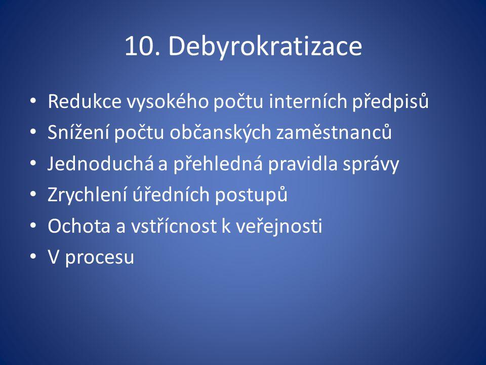 10. Debyrokratizace Redukce vysokého počtu interních předpisů