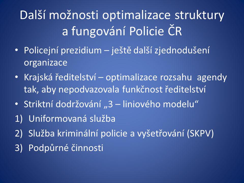 Další možnosti optimalizace struktury a fungování Policie ČR