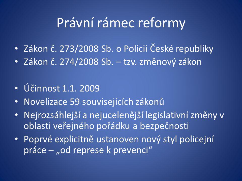 Právní rámec reformy Zákon č. 273/2008 Sb. o Policii České republiky