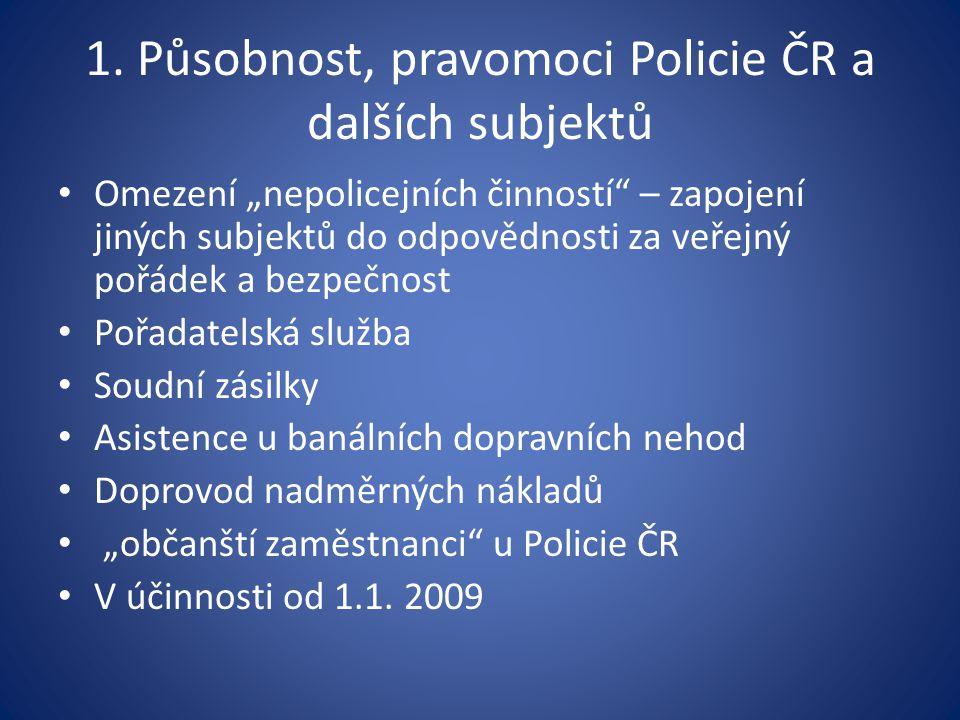 1. Působnost, pravomoci Policie ČR a dalších subjektů