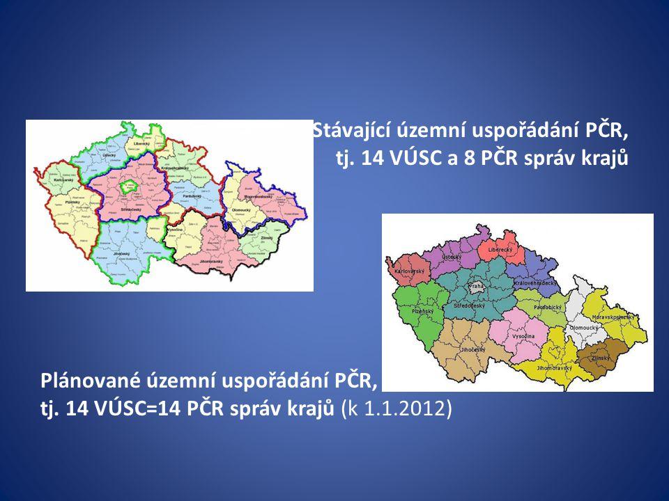 Stávající územní uspořádání PČR,
