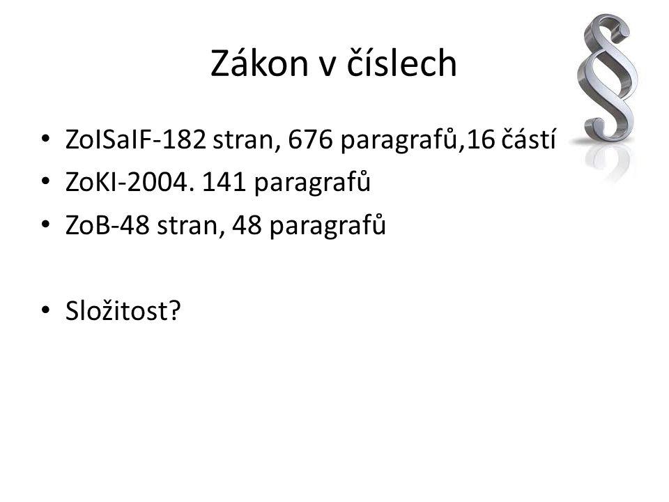 Zákon v číslech ZoISaIF-182 stran, 676 paragrafů,16 částí