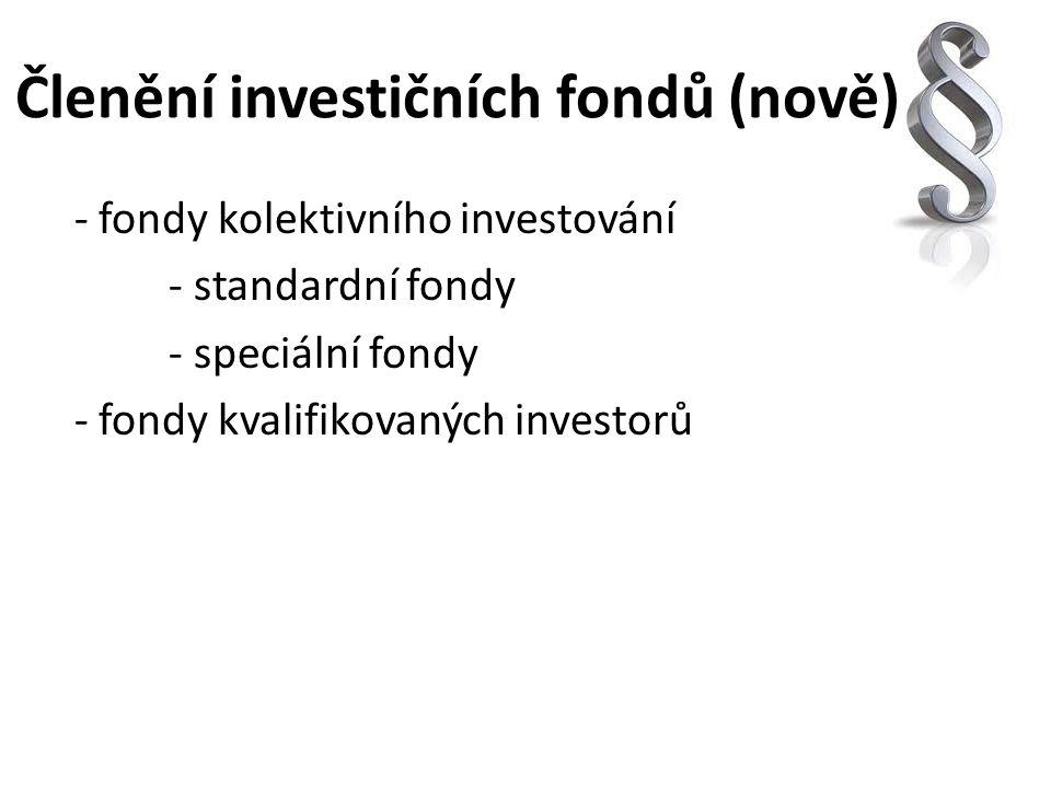 Členění investičních fondů (nově)