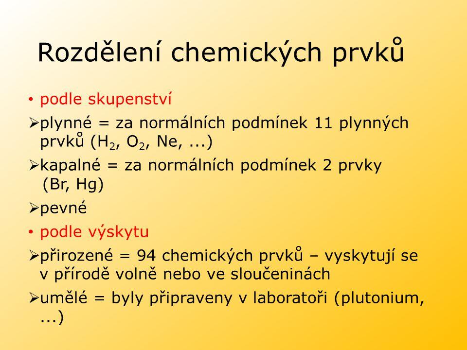 Rozdělení chemických prvků