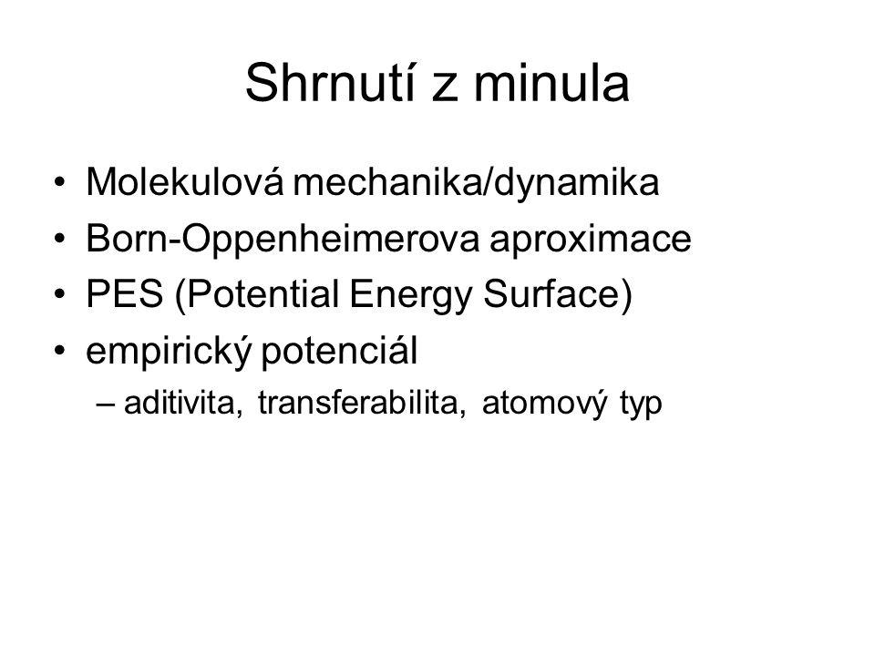 Shrnutí z minula Molekulová mechanika/dynamika