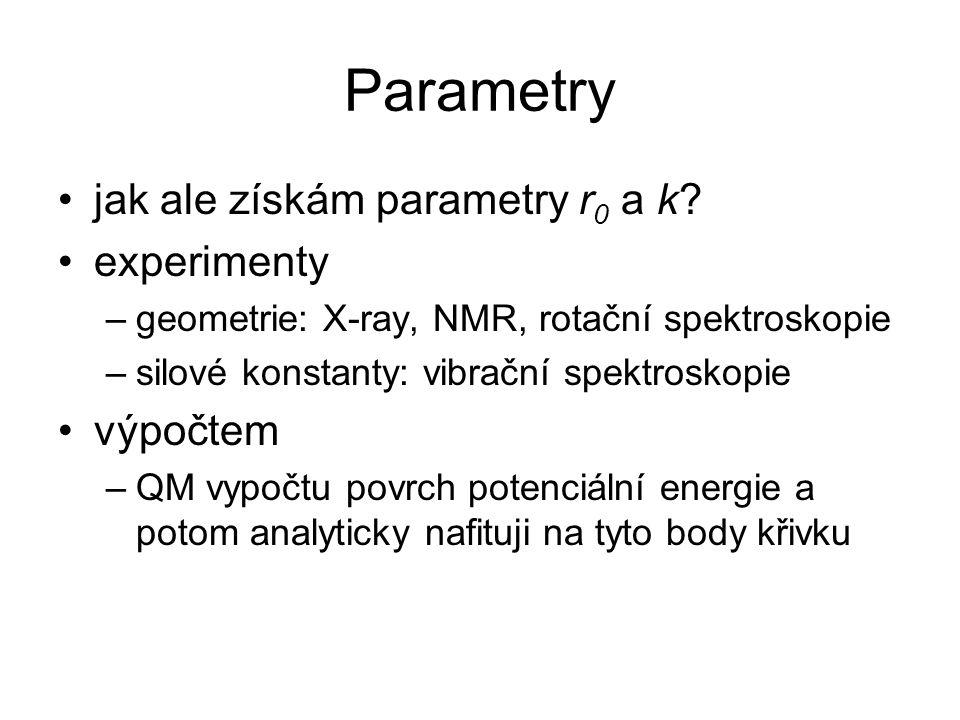 Parametry jak ale získám parametry r0 a k experimenty výpočtem