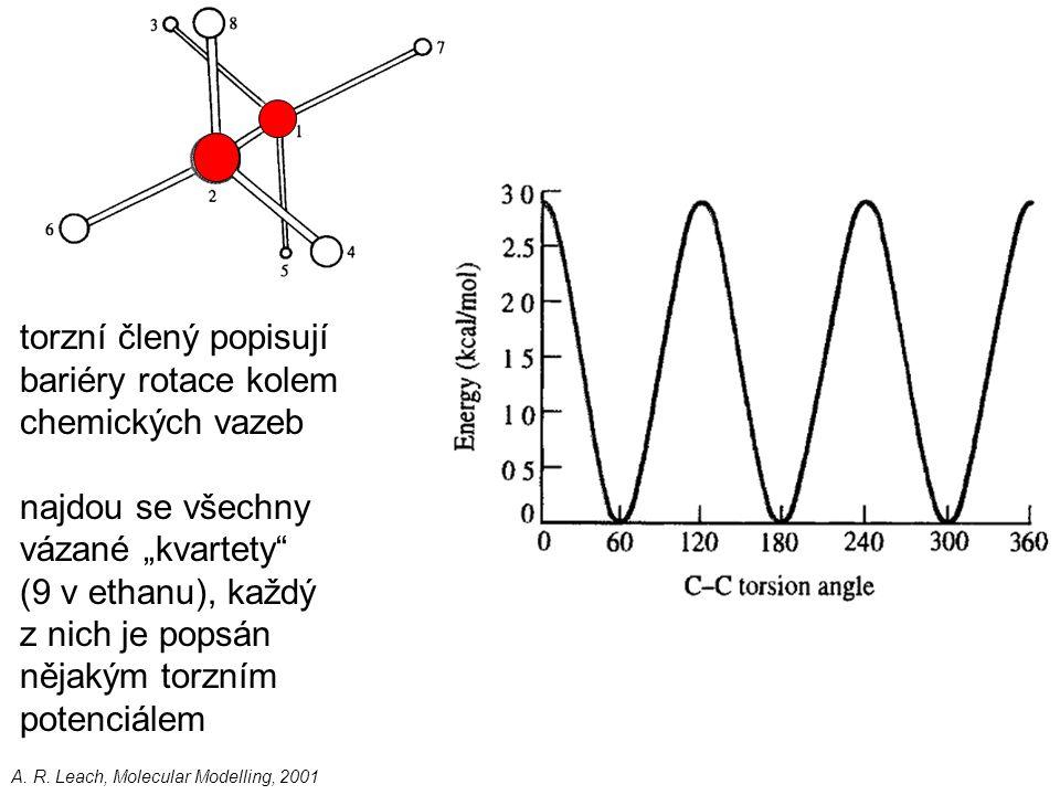 torzní člený popisují bariéry rotace kolem chemických vazeb