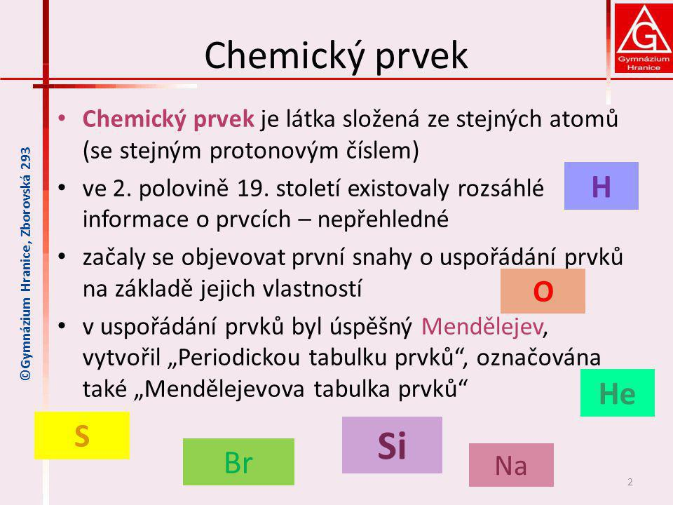 Chemický prvek Si H He S Br O Na