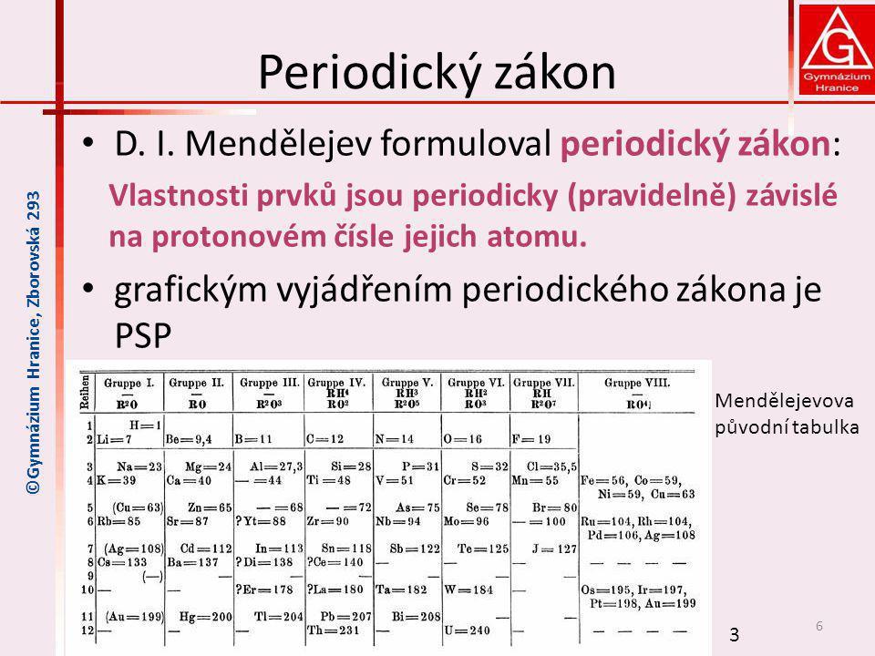 Periodický zákon D. I. Mendělejev formuloval periodický zákon: