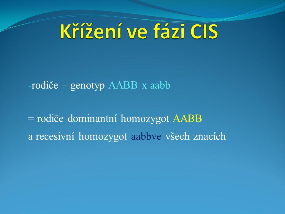 Křížení ve fázi CIS rodiče – genotyp AABB x aabb