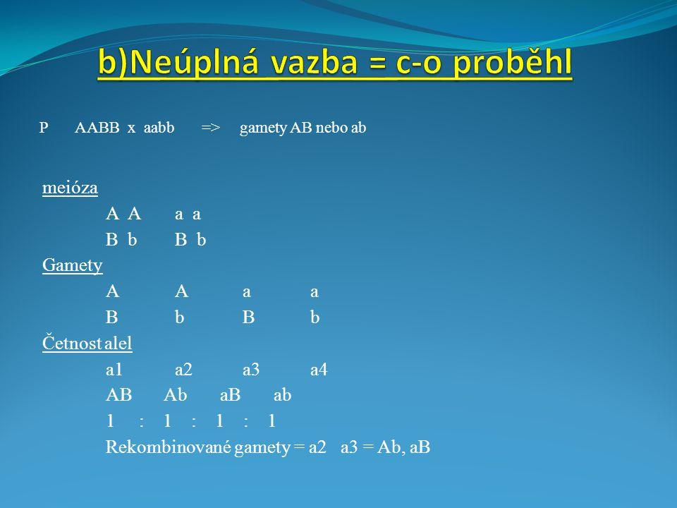b)Neúplná vazba = c-o proběhl