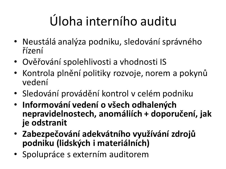 Úloha interního auditu